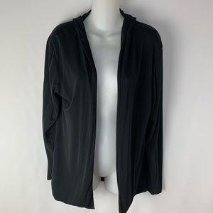 Eileen Fisher Open Hooded Jacket Cardigan Silk
